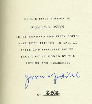 Roger's Version, Signed by the author.