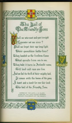 154th Anniversary Dinner of The Society of the Friendly Sons of St. Patrick in the City of New York.
