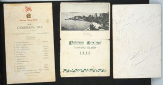 A W.W.I. period photograph album of Fanning Island, during the period of the German attack.