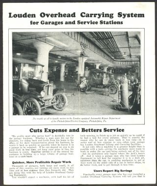Louden Overhead Carrying System for Garages and Service Stations, pamphlet.