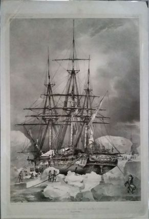 L'Astrolabe in Antarctic ice. Lithograph. J. C. Dumont D'Urville