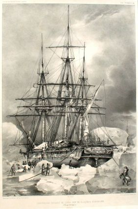 L'Astrolabe in Antarctic ice. Lithograph.