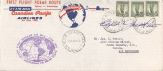 First Flight Polar Route. Sydney - Amsterdam By Air Mail. Canadian Pacific Airlines