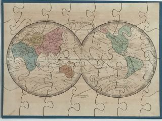 "Map Puzzles for Children ""Atlas Geographique"" including North America showing Texas as an independent state. A. R. Fremin."