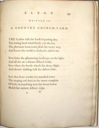 Poems by Mr. Gray. Including the 'Elegy Written in a Country Churchyard'.