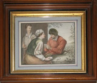 "Card Players. Water color painting signed ""Robert Theer 1847"" Robert Theer"