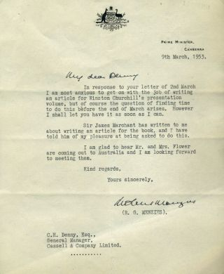 "TLS from the Australian Prime Minister Robert Menzies, addressed by hand to ""My dear Denny""..."