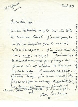 ALS from Cocteau, dated April 1935. Jean Cocteau