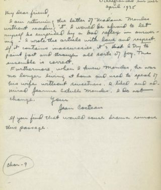 ALS from Cocteau, dated April 1935.