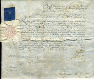 Naval Commission with the signatures of Sir John Barrow, and Sir Charles Adam and Sir William...